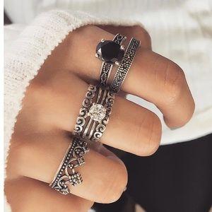 Jewelry - Black Crystal Rings Set